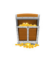 wooden old pirate chests full of treasures gold vector image vector image
