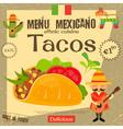 Mexican Menu Tacos vector image
