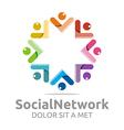 social network people star colorful design logo vector image