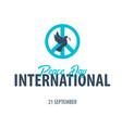international peace day logo or emblem 21 vector image