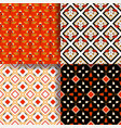 set of 4 seamless pattern acorn and geometric vector image