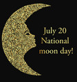 a banner with a moon with a female profile golden vector image vector image