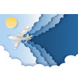 airplane flying in sky in vector image
