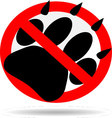 Ban foot print animal vector image vector image