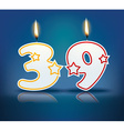 Birthday candle number 39 vector image