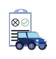 car jeep with clipboard checklist vector image
