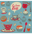 Card with tea and cupcakes vector | Price: 1 Credit (USD $1)