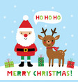 christmas greeting card with santa claus and deer vector image vector image