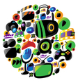 Colorful entertainment and music icons in circle vector image