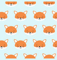 cute foxes seamless pattern orange fox s head on vector image