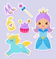cute princess stickers fairy tale girl unicorn vector image vector image