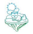degraded line nice cat animal in the float island vector image vector image