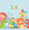 doll bunny bear dinosaur rocket train car toys vector image vector image