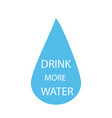 drink more water quote in water drop isolated on vector image vector image