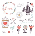 Elegant collection of romantic graphic elements vector image