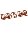 european union brown square stamp vector image vector image
