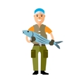 Fishing concept Fisherman with big fish vector image