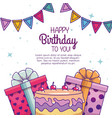 happy birthday with cake and present decoration vector image vector image