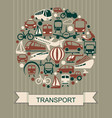 icons of various means of transportation vector image vector image