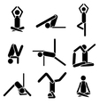 Icons yoga asana pose isolated on white background vector image vector image