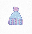 knitted hat with pompon minimalist scandinavian vector image vector image