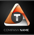 letter t logo symbol in the colorful triangle on vector image vector image