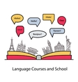 logo for language courses and schools vector image