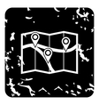 Map with pin pointers icon grunge style vector image