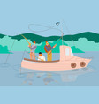 men fishing in boat on calm lake or river summer vector image