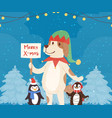 merry christmas funny dog and penguins in red vector image