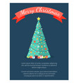 merry christmas poster with decorated tree by vector image vector image