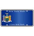 new york state license plate with flag vector image vector image