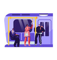 people or city dwellers in metro subway tube vector image