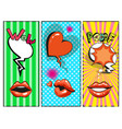 pop art female lips hearts speech bubbles vector image vector image
