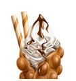 realistic bubble waffle hong kong wafer vector image