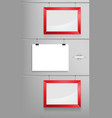 red photo frame and white paper mockup vector image