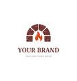 retro vintage keystone fire brick hearth furnace vector image