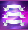 ribbon banners on space background vector image vector image