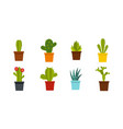 room cactus icon set flat style vector image vector image
