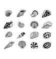 seashells sketch icons vector image vector image