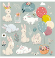 set cute hares with balloons vector image vector image