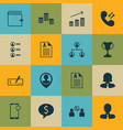 set of 16 human resources icons includes cellular vector image vector image