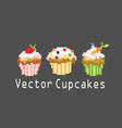 sets of cupcakes for decoration vector image vector image