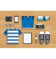 teenage travel accessories on wooden flat design vector image