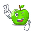 two finger character ripe green apple with leaf vector image