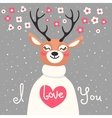 valentine card with deer and declaration love vector image vector image