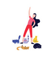 woman doing exercises surrounded many cats flat vector image