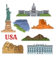Culture history nature travel sights of USA icon vector image