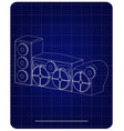 3d model of speaker system on a blue vector image