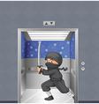 A ninja inside the elevator vector image vector image